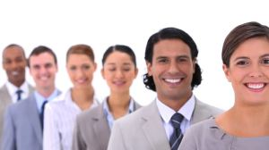 USA business people multicultural-line-shape